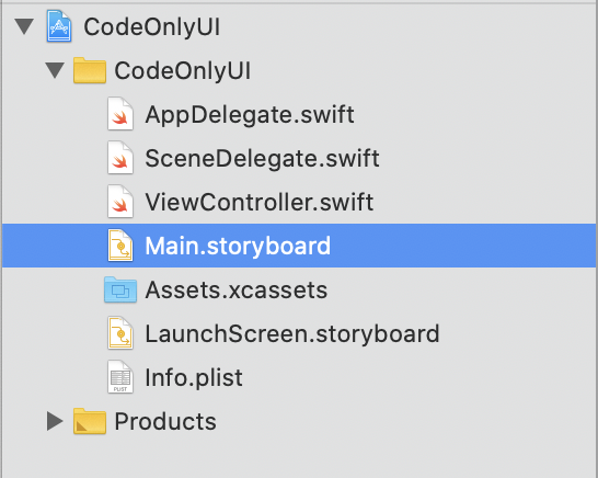 Main.Storyboard in the Project Navigator